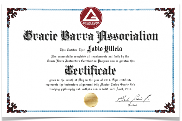 Jiujitsu certificate gracie barra instructor