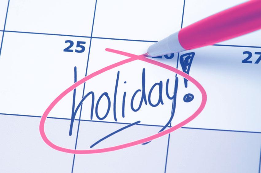 2018 Holidays schedule