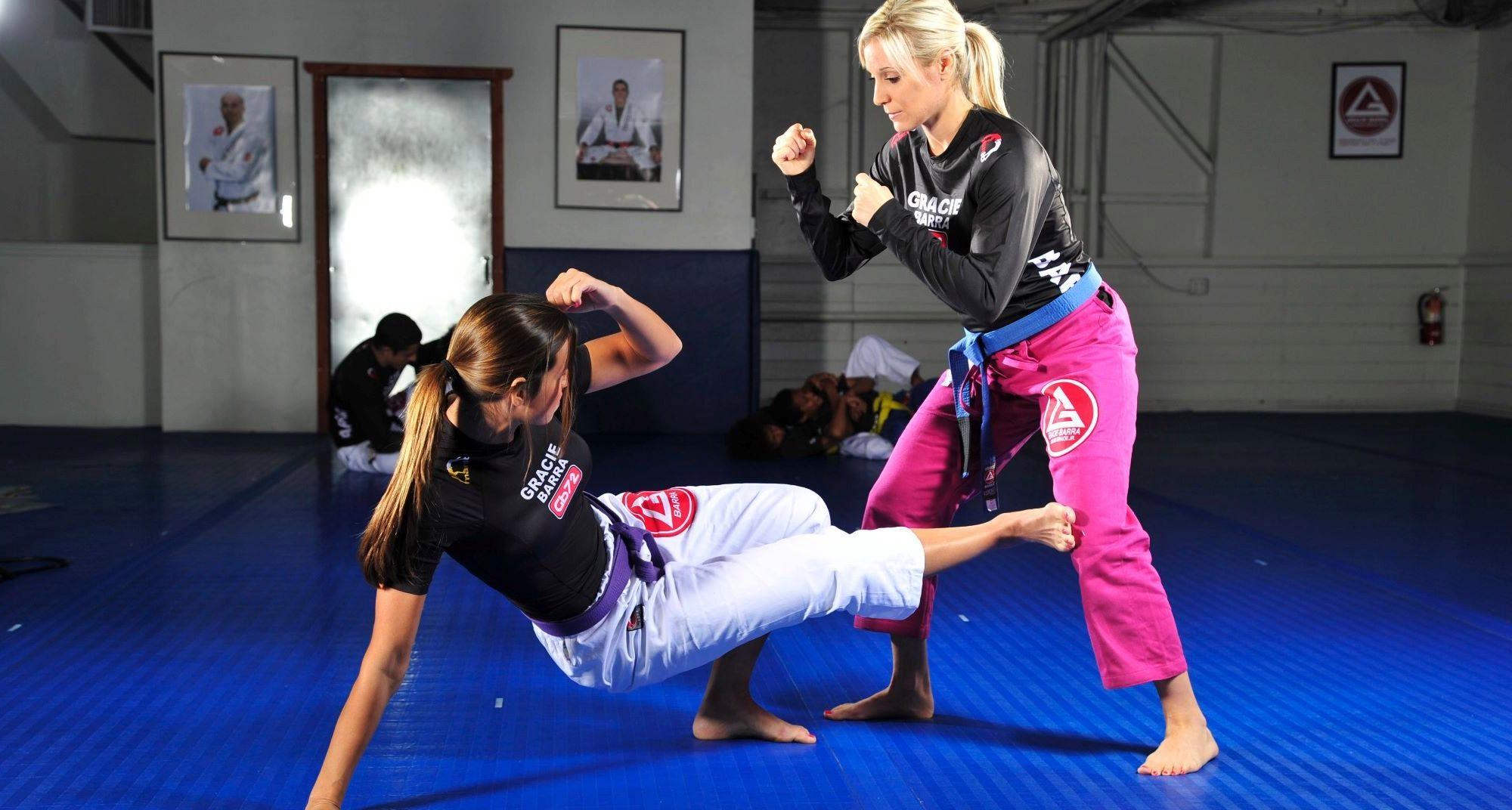 Two students spar at Gracie Barra Brazilian Jiu-Jitsu in Ahwatukee