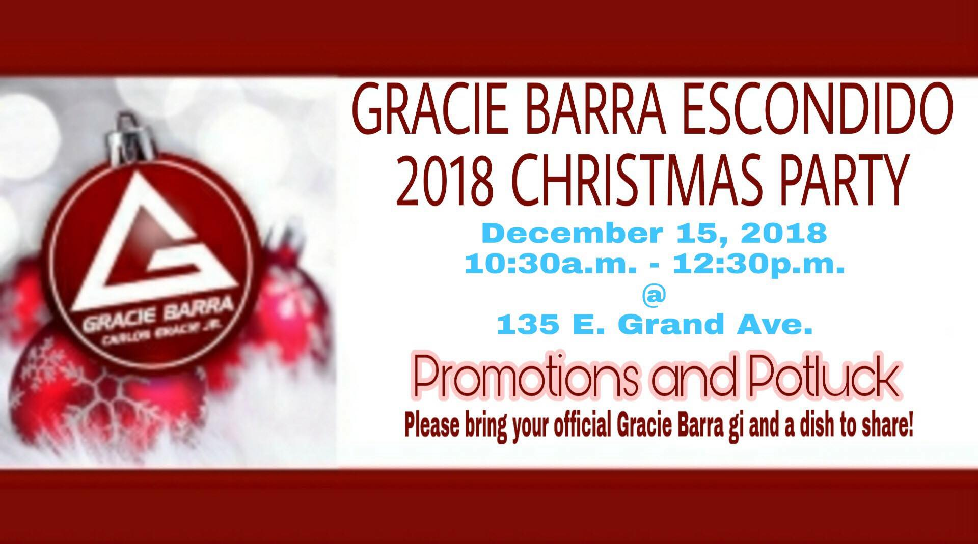 Gracie Barra Escondido 2018 Christmas Party