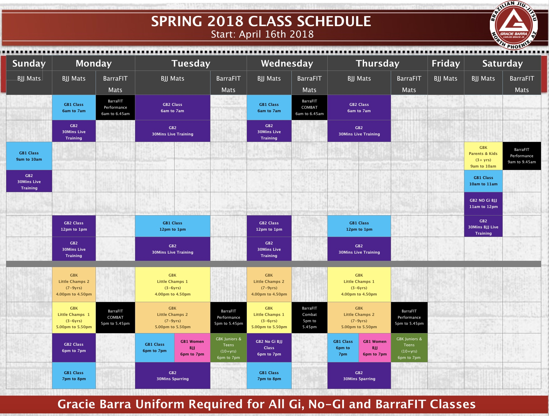 Gracie Barra North Phoenix - Spring 2018 Schedule